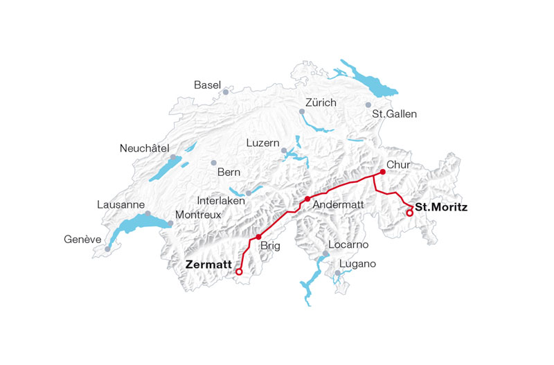 SBB Glacier Express route map