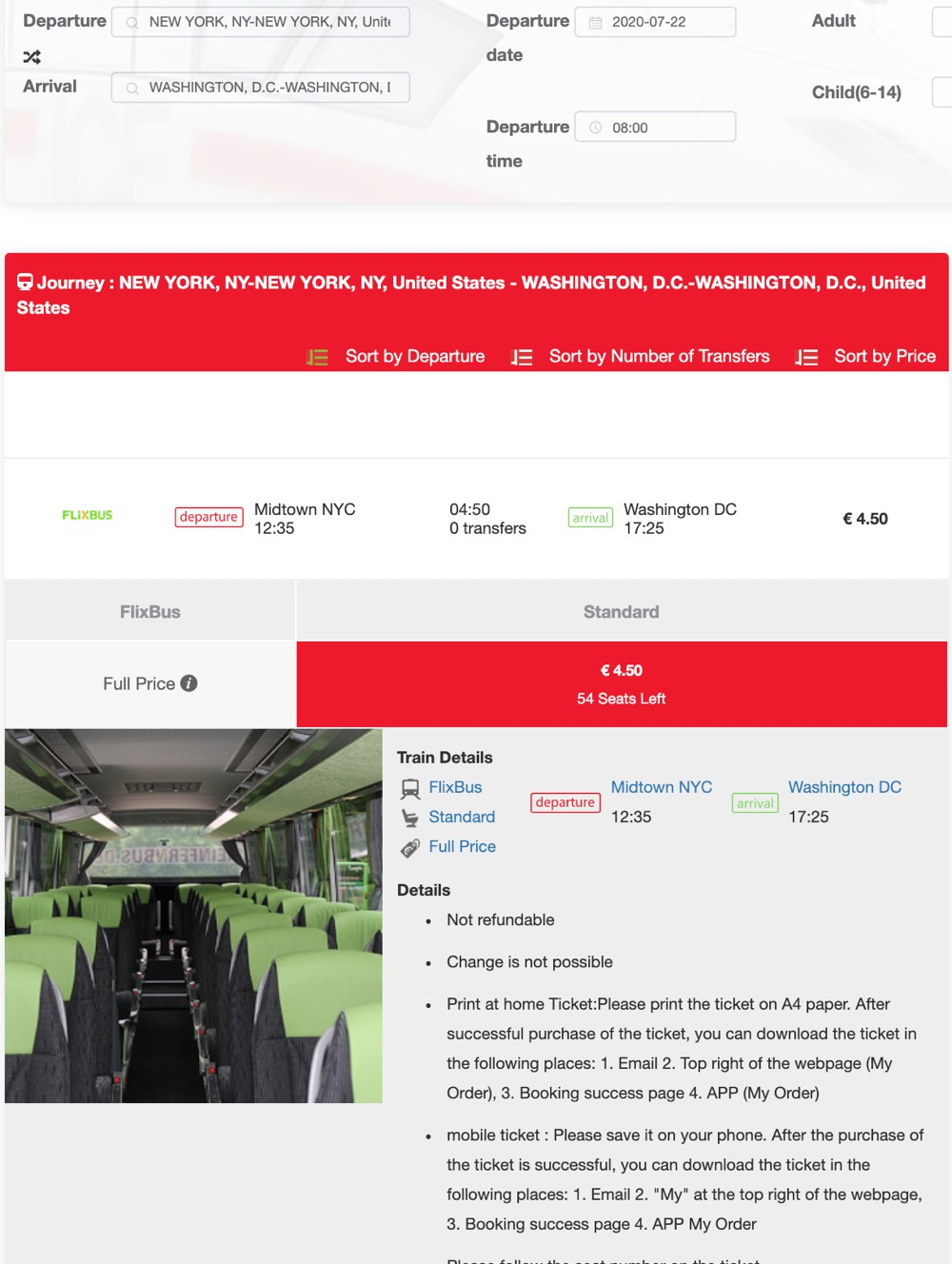 cheap ticket from new york to washington dc with flixbus